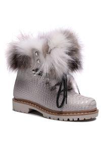 Srebrne buty trekkingowe New Italia Shoes klasyczne, z cholewką