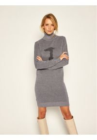 Trussardi Jeans Sukienka dzianinowa Logo 56D00400 Szary Regular Fit. Kolor: szary. Materiał: dzianina