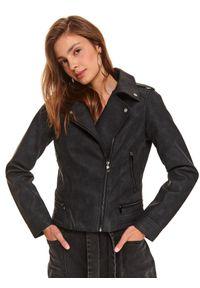 Czarna kurtka TOP SECRET długa, z długim rękawem, casualowa