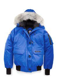 CANADA GOOSE - Niebieska kurtka Chilliwack. Kolor: niebieski. Materiał: materiał, futro. Wzór: aplikacja #3