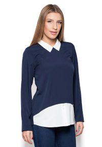 Niebieska bluzka z długim rękawem Katrus elegancka