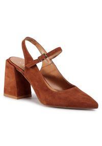 Brązowe sandały sagan na co dzień, casualowe