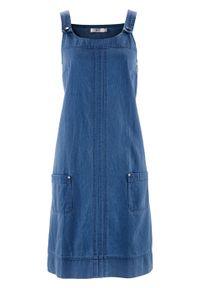 Sukienka bawełniana dżinsowa ogrodniczka bonprix niebieski denim. Okazja: do pracy, na spotkanie biznesowe. Kolor: niebieski. Materiał: bawełna, denim. Styl: biznesowy