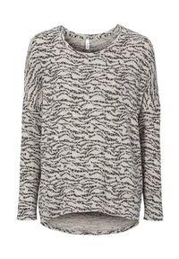 Beżowy sweter Soyaconcept melanż, z długim rękawem, długi