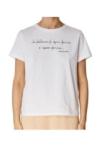 Biały t-shirt z krótkim rękawem, z napisami