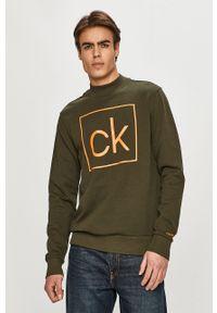 Zielona bluza nierozpinana Calvin Klein z nadrukiem, casualowa, na co dzień, bez kaptura