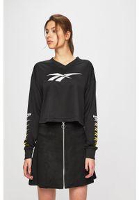 Czarna bluza Reebok Classic na co dzień, z nadrukiem, casualowa