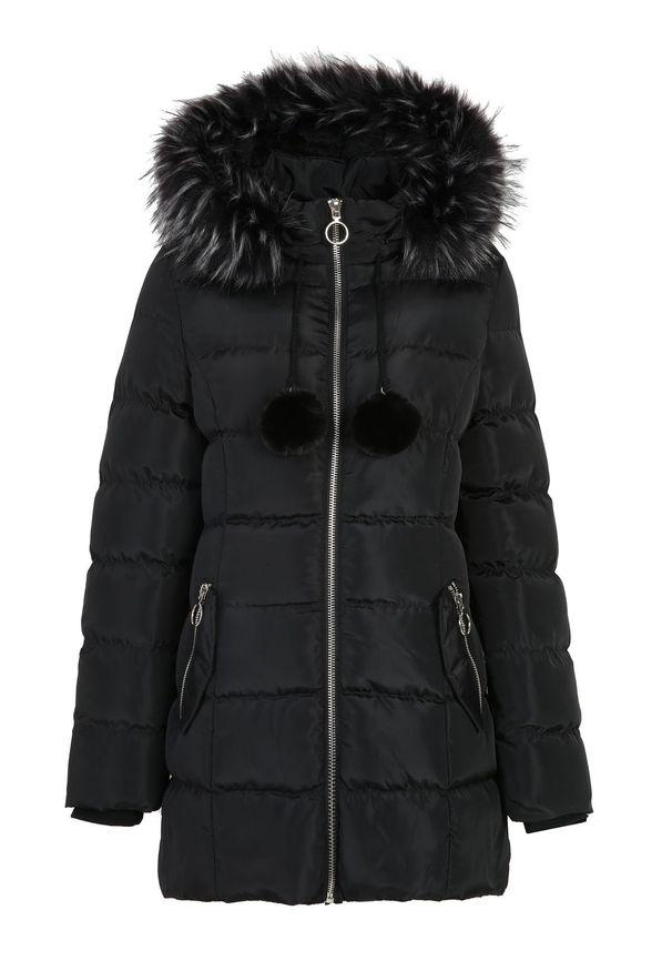 Czarna kurtka TOP SECRET długa, na jesień, w kolorowe wzory