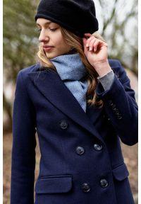 Marie Zélie - Płaszcz wełniany Debora granatowy – flausz. Kolor: niebieski. Materiał: wełna. Wzór: motyw zwierzęcy. Sezon: zima. Styl: klasyczny #8