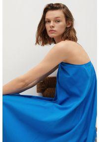 mango - Mango - Sukienka Buba. Okazja: na co dzień. Kolor: niebieski. Materiał: bawełna, tkanina. Długość rękawa: na ramiączkach. Wzór: gładki. Typ sukienki: proste. Styl: casual