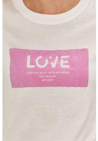 Mos Mosh - T-shirt. Okazja: na co dzień. Kolor: różowy. Wzór: aplikacja. Styl: casual