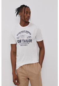 Tom Tailor - T-shirt bawełniany. Kolor: biały. Materiał: bawełna. Wzór: nadruk