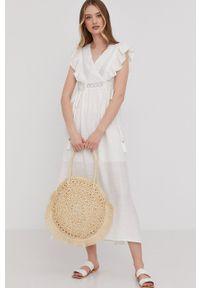 Answear Lab - Sukienka. Okazja: na co dzień. Kolor: biały. Materiał: tkanina, koronka. Wzór: gładki. Typ sukienki: proste. Styl: wakacyjny