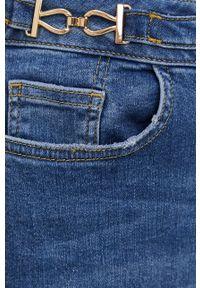 Mos Mosh - Spódnica jeansowa. Okazja: na co dzień. Stan: podwyższony. Kolor: niebieski. Materiał: jeans. Styl: casual