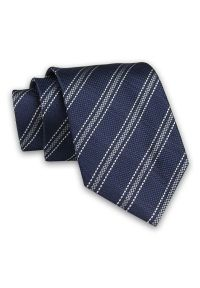 Ciemny Granatowy Męski Krawat -Chattier- 7,5cm, Klasyczny, Elegancki, w Szare Paski, Prążki. Kolor: niebieski. Materiał: tkanina. Wzór: prążki, paski. Styl: klasyczny, elegancki