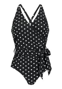 Czarny strój kąpielowy Happy Holly z wyściełanymi miseczkami, w kropki