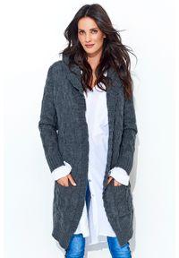 Szary sweter oversize Makadamia z kapturem, długi