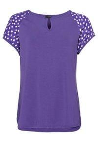 T-shirt z satynowymi rękawami bonprix ciemny lila. Kolor: fioletowy. Materiał: satyna