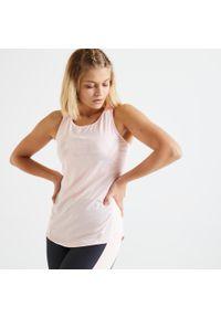 DOMYOS - Koszulka fitness damska Domyos bez rękawów. Kolor: różowy. Materiał: poliester, elastan, materiał. Długość rękawa: bez rękawów. Długość: długie. Sport: fitness