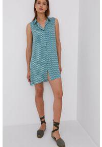 Answear Lab - Sukienka. Okazja: na co dzień. Kolor: turkusowy. Materiał: tkanina. Typ sukienki: proste. Styl: wakacyjny