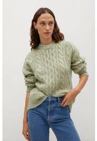Zielony sweter mango na co dzień, z długim rękawem, casualowy