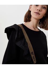 Liu Jo - LIU JO - Bluza z aplikacją i falbaną. Kolor: czarny. Materiał: materiał. Wzór: aplikacja