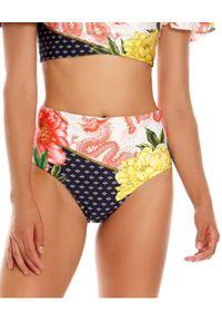 AGUA BENDITA - Dół od bikini Alicia Voila. Stan: podwyższony. Kolor: czerwony. Wzór: kwiaty, gładki, aplikacja, nadruk