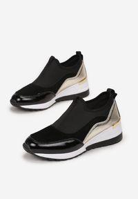 Born2be - Czarno-Złote Skórzane Sneakersy Zooni. Kolor: czarny. Materiał: skóra