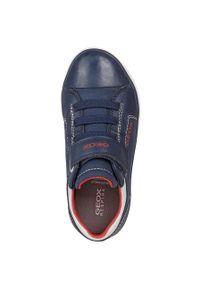 Niebieskie buty sportowe Geox na rzepy, z okrągłym noskiem, z cholewką
