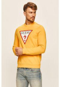 Żółta bluza nierozpinana Guess Jeans z nadrukiem, na co dzień