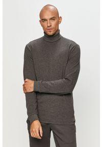 Szary sweter Only & Sons długi, casualowy, z golfem, z długim rękawem