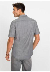 Koszula dżinsowa z krótkim rękawem bonprix szary denim. Kolor: szary. Materiał: denim. Długość rękawa: krótki rękaw. Długość: krótkie. Wzór: haft