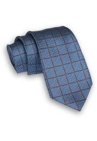 Alties - Niebiesko-Brązowy Klasyczny Męski Krawat -ALTIES- 7cm, Szeroki, w Grubą Kratę. Kolor: niebieski, beżowy, brązowy, wielokolorowy. Materiał: tkanina. Styl: klasyczny