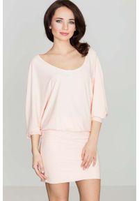 Różowa sukienka mini Katrus z długim rękawem, casualowa, na co dzień