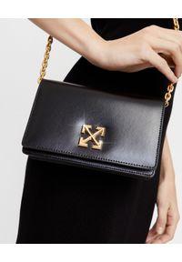 OFF-WHITE - Czarna torebka z logo. Kolor: czarny. Wzór: gładki. Rodzaj torebki: na ramię