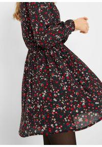 Sukienka z tkaniny w kwiaty bonprix czarny w kwiaty. Kolor: czarny. Materiał: tkanina. Wzór: kwiaty