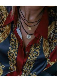 SELFIE JEWELLERY - Naszyjnik z księżycem i gwiazdami Astral Goddess. Materiał: srebrne, pozłacane, złote. Kolor: czarny. Wzór: aplikacja. Kamień szlachetny: cyrkonia, agat