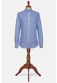 Lancerto - Koszula Niebieska w Kratę Lniana Palmerston. Okazja: na co dzień. Typ kołnierza: button down. Kolor: niebieski. Materiał: len. Wzór: kratka. Sezon: lato. Styl: klasyczny, casual, vintage