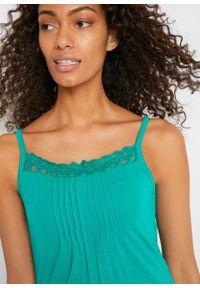 Top z koronką, na regulowanych ramiączkach bonprix szmaragdowy. Kolor: zielony. Materiał: koronka. Długość rękawa: na ramiączkach. Wzór: koronka