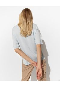 PESERICO - Błękitny sweter z kaszmirem i jedwabiem. Okazja: na co dzień. Kolor: niebieski. Materiał: jedwab, kaszmir. Styl: casual