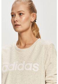 Kremowa bluza Adidas z długim rękawem, bez kaptura, na co dzień, długa