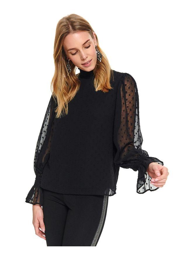 Czarna bluzka TOP SECRET w kolorowe wzory, z golfem, długa, wizytowa
