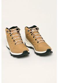 Beżowe buty trekkingowe salomon na sznurówki, z cholewką