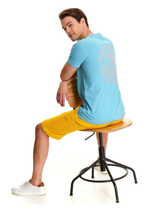 Niebieski t-shirt TOP SECRET na co dzień, z dekoltem na plecach, krótki