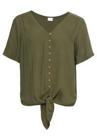 Bluzka z przewiązaniem bonprix ciemny khaki. Typ kołnierza: dekolt w serek. Kolor: zielony