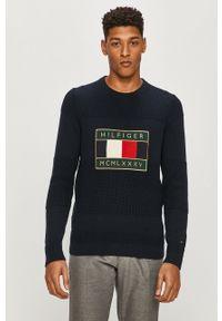 Niebieski sweter TOMMY HILFIGER z aplikacjami, z długim rękawem, długi, casualowy