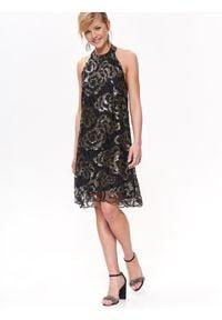 TOP SECRET - Sukienka damska z cekinami. Kolor: czarny. Sezon: zima, jesień. Styl: elegancki