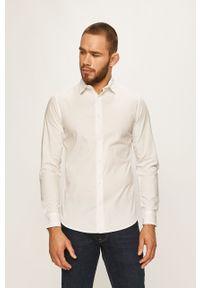 Biała koszula PRODUKT by Jack & Jones długa, z klasycznym kołnierzykiem, elegancka