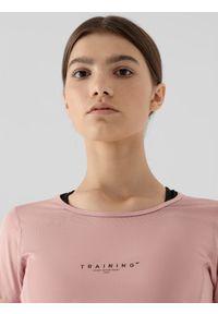 4f - Koszulka treningowa szybkoschnąca damska. Kolor: różowy. Materiał: włókno, dzianina, skóra. Sport: fitness