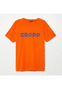 Pomarańczowy t-shirt Cropp z nadrukiem